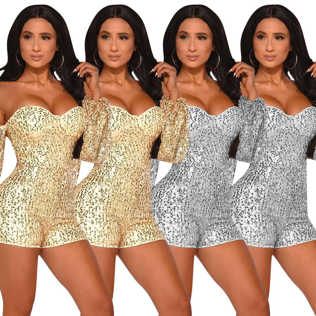 Women's sexy sequins cloth with sleeves one shoulder short paragraph jumpsuit club costumes fashion dinner jumpsuit