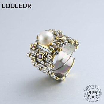 925 пробы серебро циркон жемчужные кольца золото Регулируемый натуральный пресноводный барочный жемчуг волнистые кольца для женщин 925 ювели...