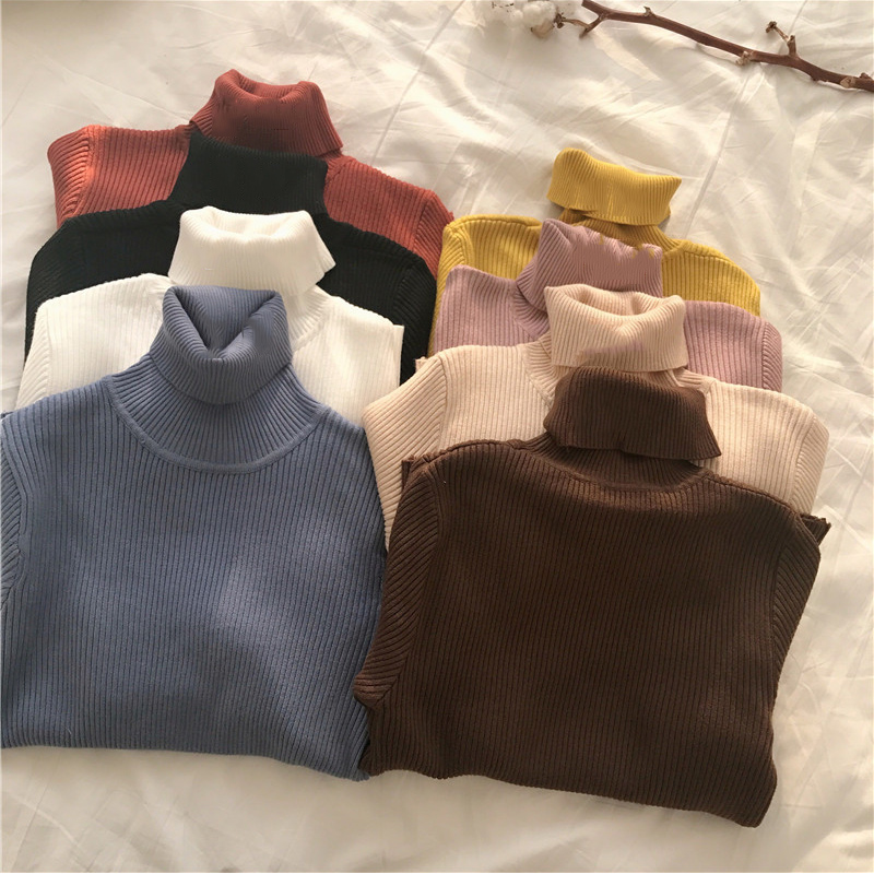 2019 Winter Women Knitted Turtleneck Sweater Casual Soft Polo-neck Jumper Fashion Slim Femme Elasticity Pullovers