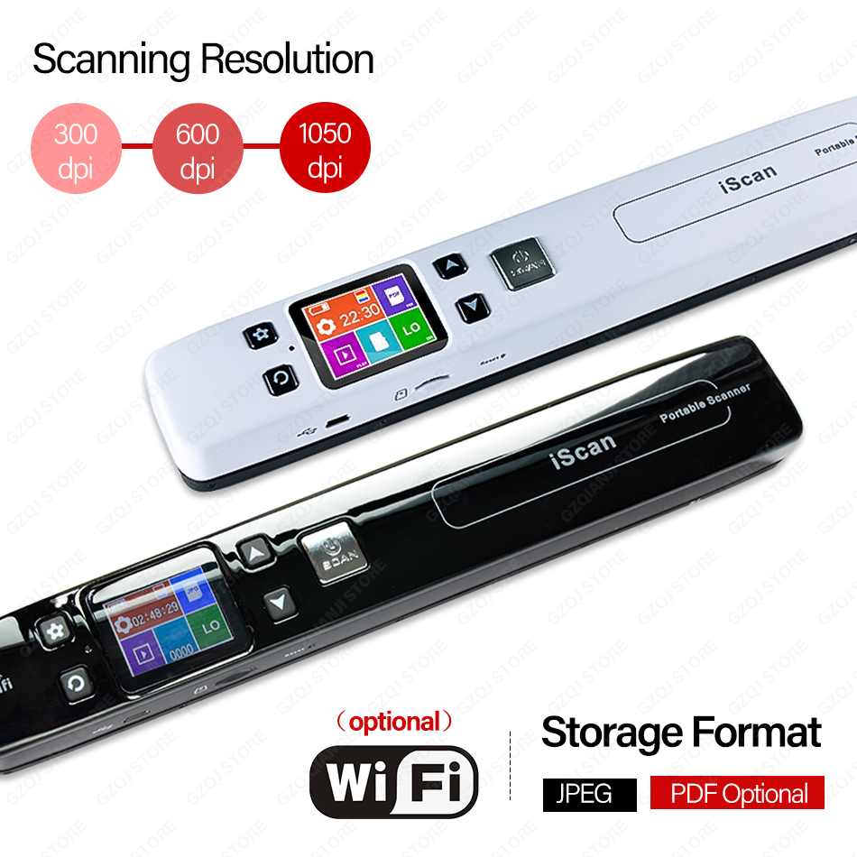 Wireless WIFI Portable Handheld Document Images Scanner JPG/PDF  USB Scanner A4 Size Paper Reader High Speed Document Scanner|Scanners| |  - title=