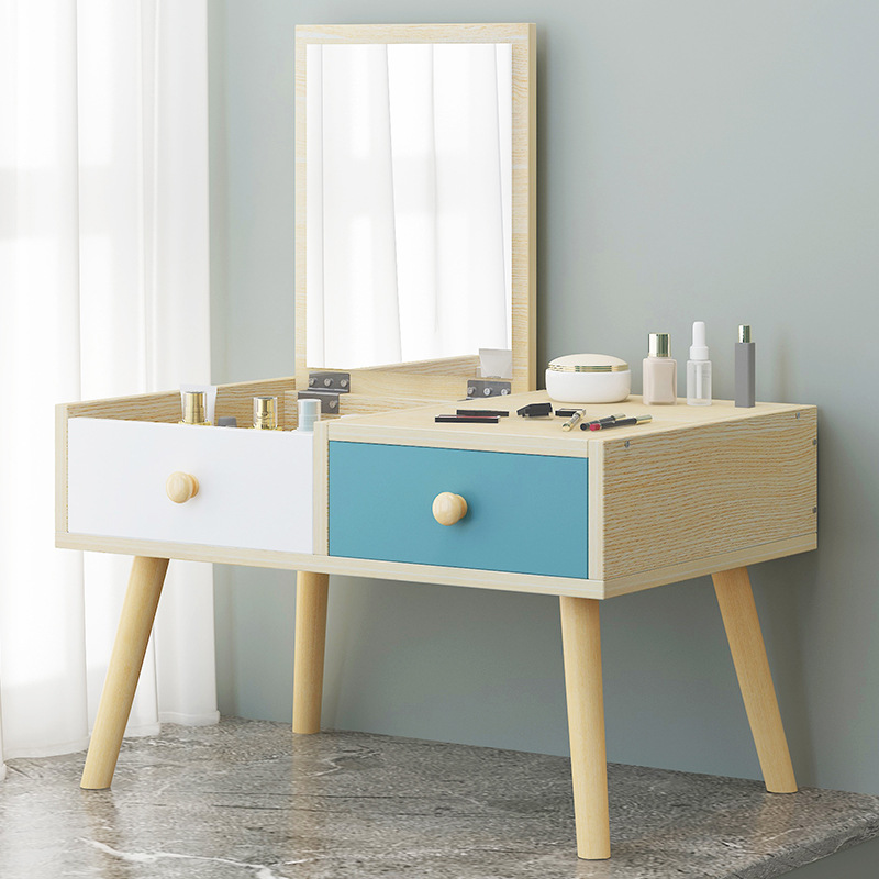 US $101.84 11% OFF|Makeup Table with Mirror Bedroom Furniture Dresser  Manmade Board Solid Wood Leg Dressing Table Creative Makeup Table With  Drawer on ...