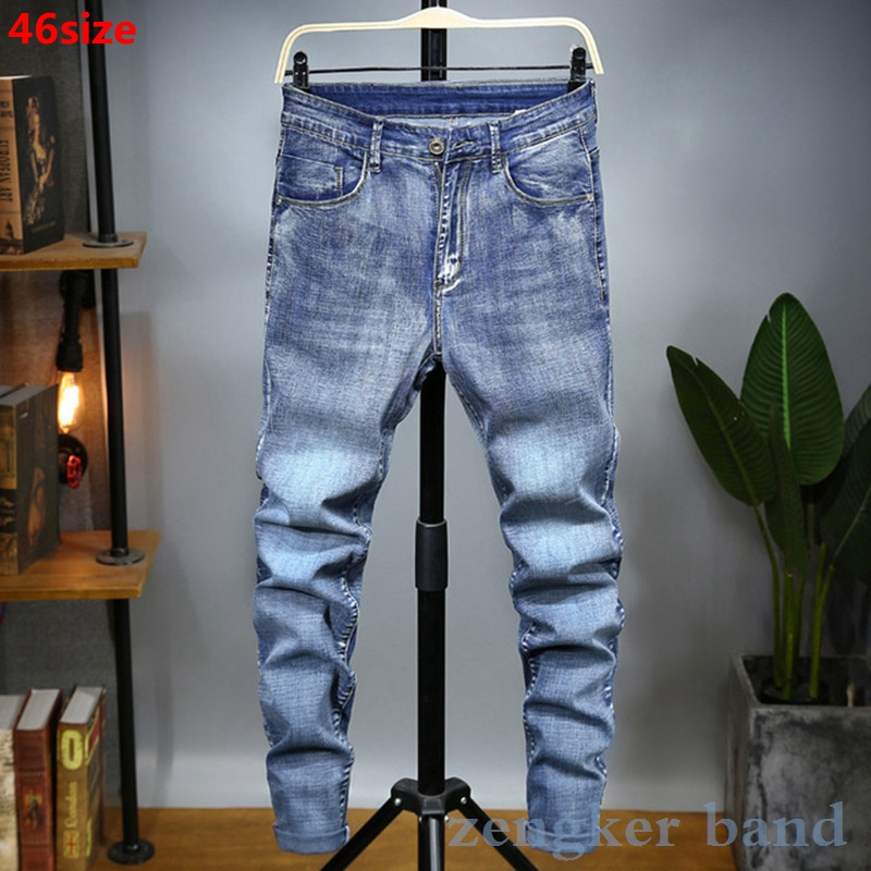 Spring Men's Large Elastic Jeans Men's Light Blue Large Size Loose Oversized Pants Men's Elasticity 46 44 42 40
