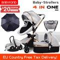 33013184747 - Cochecito de bebé 4 en 1 de 0-3 años de edad con paraguas y bolsos 8 regalos estándar de lujo alto paisaje con marco dorado CE