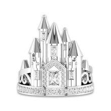 Модное серебряное романтическое кольцо с замком для женщин, украшение для свадьбы помолвки, циркониевые кольца, подарки 1 шт
