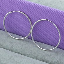 Simple 925 Silver Color Fine Smooth Exaggerated Circle 35mm Hoop Earrings For Women Modern jewelry Wholesale