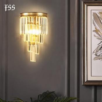 FSS Modern Bedsides Wall Sconce Lamps Luxury Golden Crystal Wall Light Fixtures Bedside LED Wall Lamps For Bedroom  Living Room gold crystal led wall sconces lamps for bedroom living room bedside bathroom closet night light modern luxury wall light