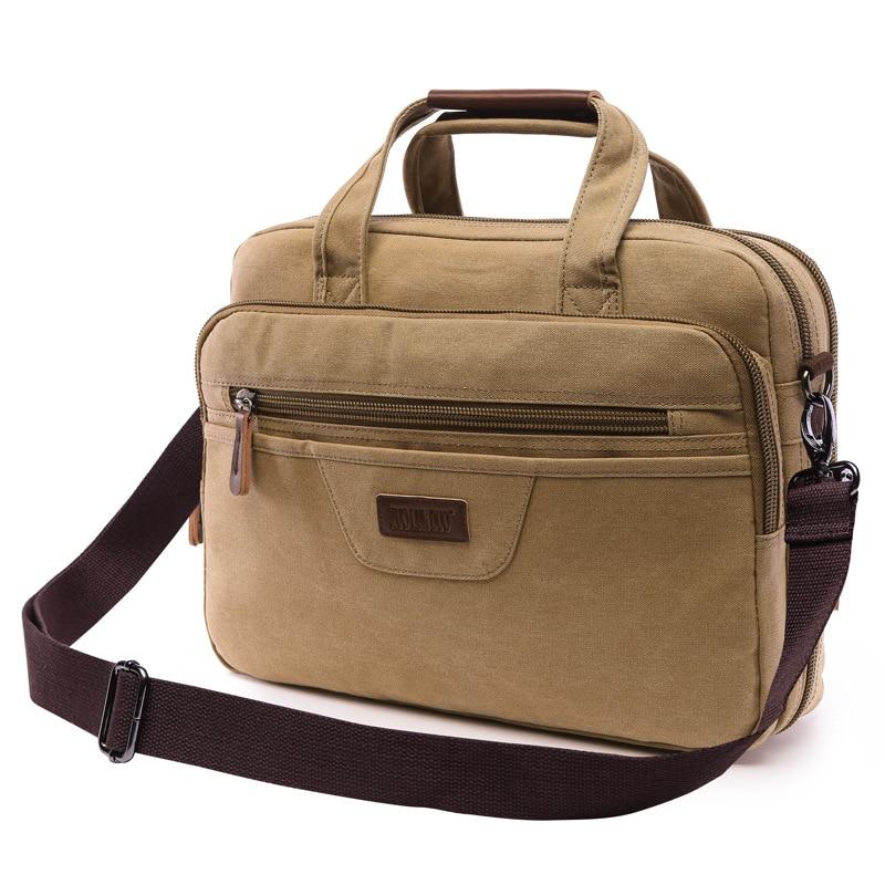 Casual Canvas Men Briefcase Brand Business Travel Laptop Handbag For Men Large Capacity Messenger Shoulder Bag