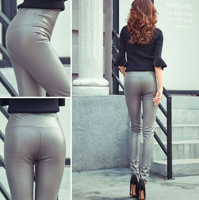 2017 Autumn Winter Women Elastic PU Leather Velvet High Waist Thick Warm leggings Slim Pencil Pants Colorful Trousers Female 5