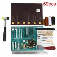 69PCS Leather Craft Tools Kit Hand DIY Sewing Stitching Punch Carving Work Saddle Leathercraft for Leather Working