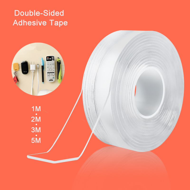 1/2/3/5m Nano Magic Tape Double-Sided Adhesive Tape Traceless Waterproof Scotch Tape For Bathroom Kitchen Sink Tap Gel Sticker