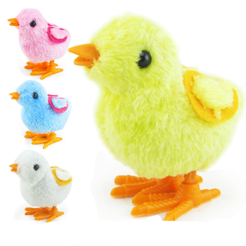 1PCS New Style Funny Wind Up Toys Cute Plush Chicken Rabbit Clockwork Jumping Walking Toys Random Color Educational Toys Gifts недорого