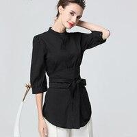 Women Black Long Tunic With Belt O Neck Seven Sleeve Spring Summer Cardigan Shirt Elegant Slim Office Street Wear Ladies Tops