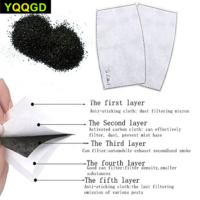 10Pcs/Lot 5 Layers Activated Carbon Filter Insert Protective Filter Media Insert for mouth Mask 3