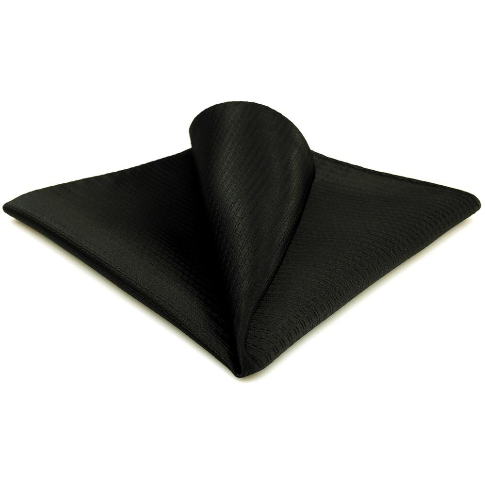 CH28 Silk Solid Black Pocket Square For Men Fashion Hanky Handkerchief Large 12.6