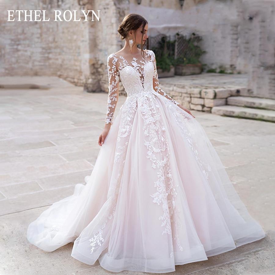 ETHEL ROLYN Pink Long Sleeves Wedding Dresses 2020 Vestido De Novia A-Line Romantic Appliques Princess Scoop Tulle Bridal Gowns
