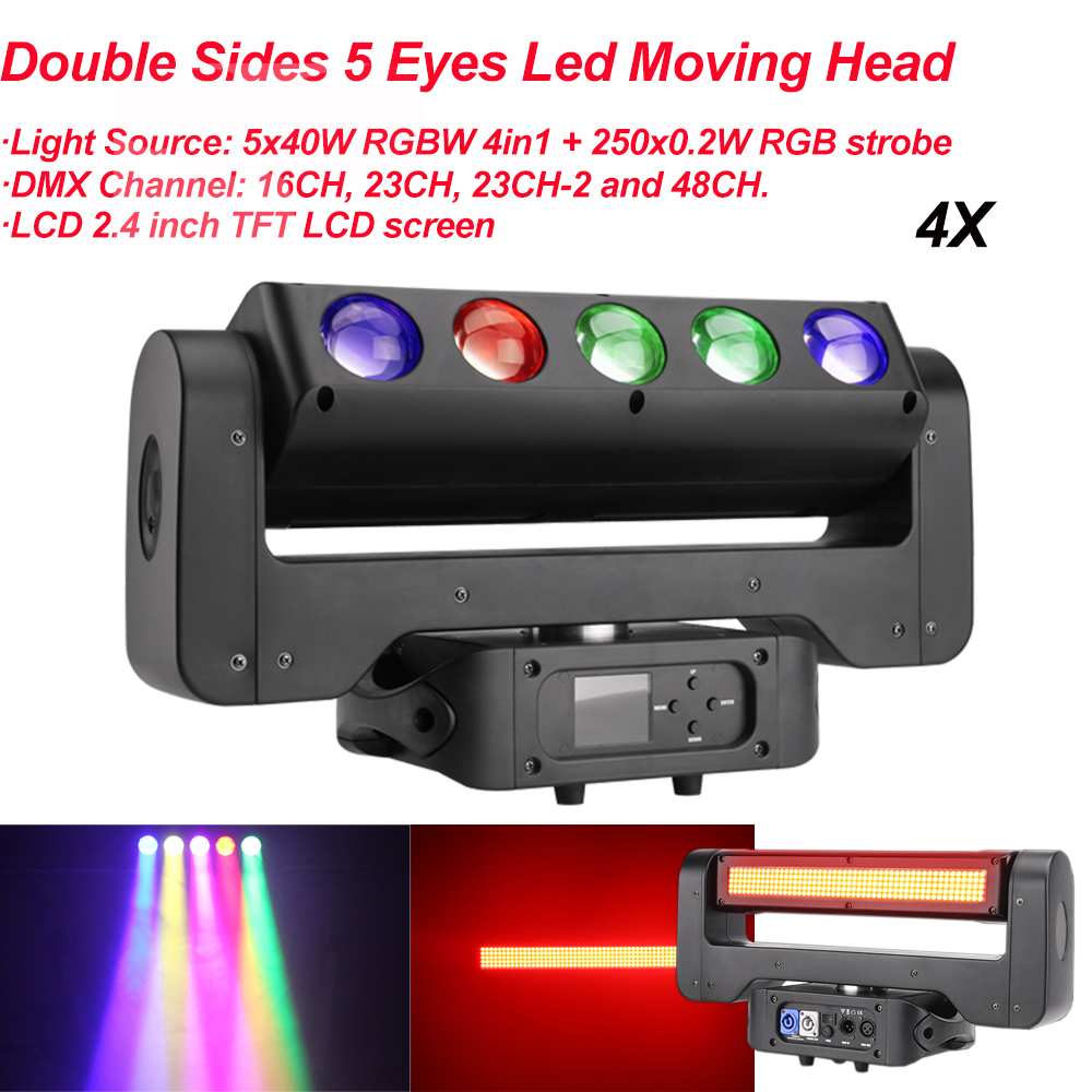 4Pcs/Lot 5x40W RGBW 4in1 250x0.2W RGB Strobe Double Sides 5 Eyes LED Moving Head Light DMX512 Stage DJ Lighting Effect Lights
