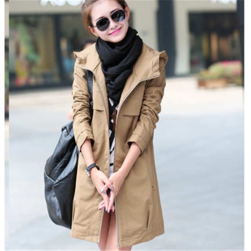 New Fashion Plus Size Women Coat 2020 Spring Autumn Casual Hooded Long Trench Coat Female Slim Solid Thin Outerwear C248