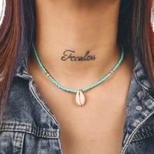 Женское богемное ожерелье с подвеской из натуральной ракушки
