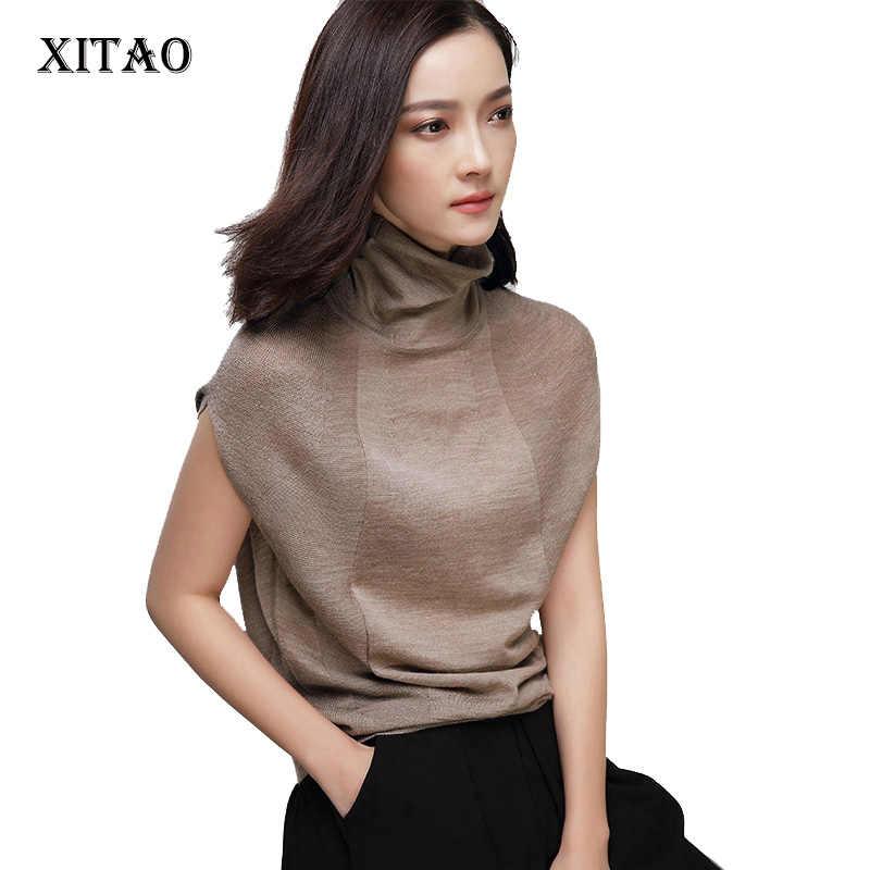 Женский шерстяной свитер XITAO, мягкий эластичный пуловер с высоким воротником и коротким рукавом, кашемировый свитер, брендовые Джемперы, Осень-зима 2020