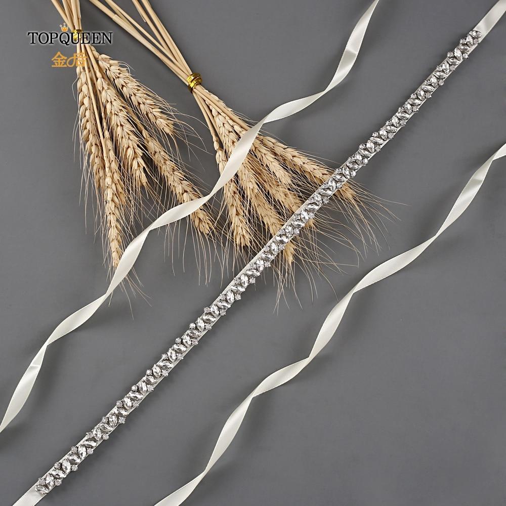 TOPQUEEN Rhinestones Wedding Belts Wedding Sash Diamond Bridal Thin Belt For Girl Bridal Sashes For Vintage Wedding Dress  S404