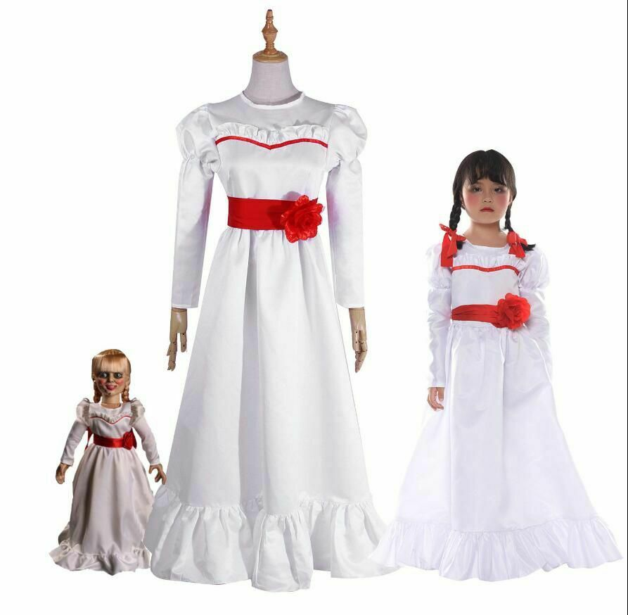 Bride of Chucky Annabelle Dress The Conjuring Doll Cosplay Costume Women Girls Evil Halloween Horror Scary Fancy Dress Outfits