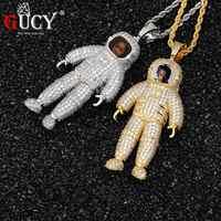 GUCY Custom Made Foto Gli astronauti Della Collana & Del Pendente con Campi Da Tennis Catena Oro Argento di Colore Zircone Cubico Hip hop degli uomini di hop Dei Monili