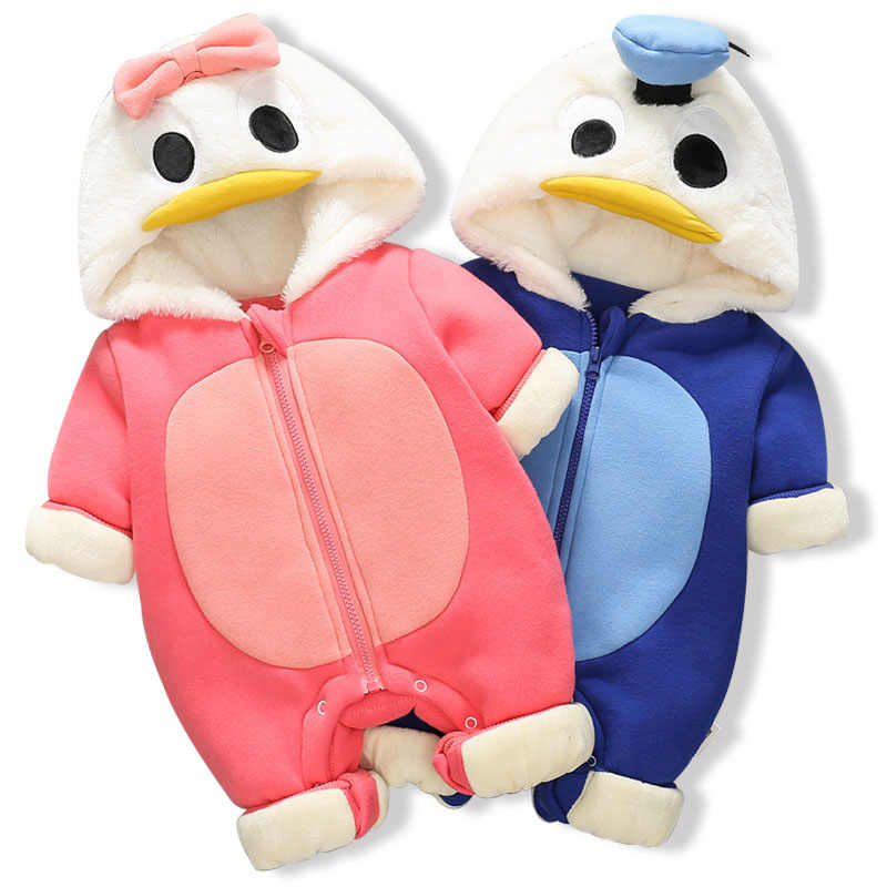 Infant Donald Duck Romper Baby Boys Girls Jumpsuit Winter Hooded Clothing Toddler Baby Clothes Cute Thick Romper Baby Costume