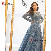 2020 O Neck Crystal Handmade Evening Dress Long Sleeves Full Lace Luxury Luxury Formal Party Gowns