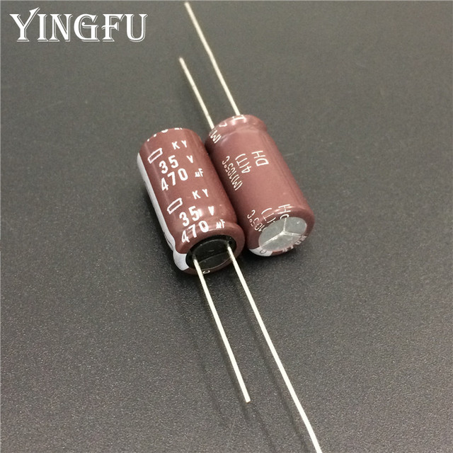 100 個 470 uf 35 v 日本 ncc ky シリーズ 10 × 20 ミリメートル低インピーダンス長寿命 35V470uF アルミ電解コンデンサ