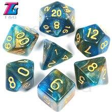 Super universo galaxy dnd dice conjunto D4-D20 rpg melhores presentes 15 cores para escolher o presente de natal
