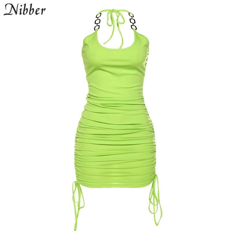 NIBBER 2020 summer club vacation birthday party night sling dress women sexy fashion solid color skinny kawaii mini wrap dress 7
