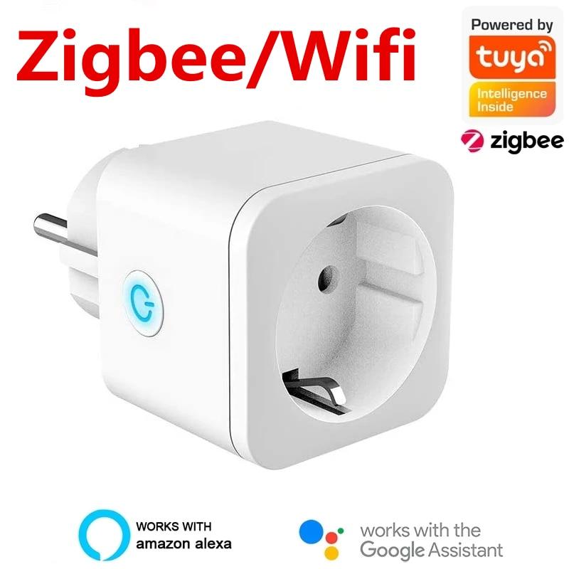 Tomada inteligente wifi/tomada zigbee ue 16a função de sincronismo monitor de energia tuya smartlife app controle trabalhar com alexa assistente google