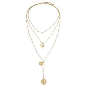 Image 2 - Модное многослойное ожерелье с имитацией жемчуга, креативное круглое ожерелье с длинными денежными средствами, подарок на вечеринку