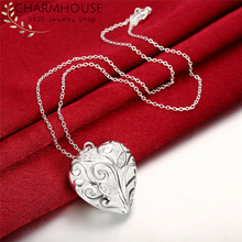 Pure 925 Sterling Silver Necklaces For Women AAA Zirconia Heart Pendant & Necklace Link Chain Fashion Jewelry Party Gifts