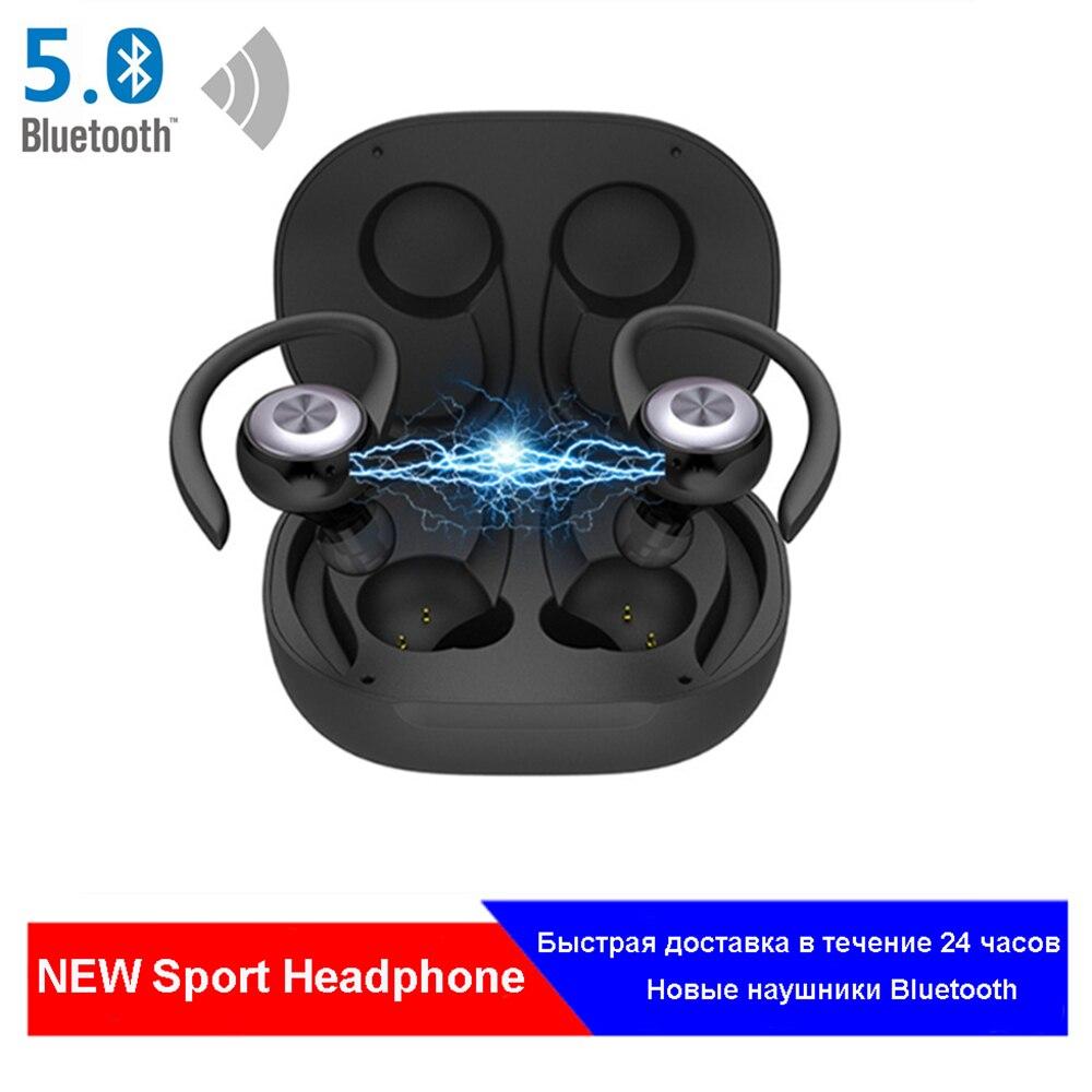 Wireless Bluetooth Earphone Sport 5 0 Waterproof Headset EarHook Stereo Noise Cancelling Headphones Wireless With Mic For Mobile