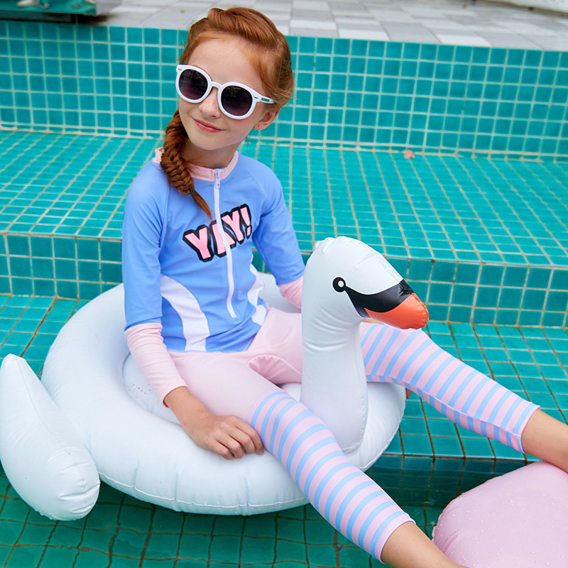 Europe And America Big Boy Pink And Blue Long Sleeve Pants Zipper GIRL'S One-piece Sun-resistant Surf Wear Two-Piece Set KID'S S