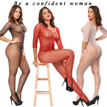 Sexy Fishnet Bodysuit Women Sex Clothes See Through Open Crotch Body stockings Mesh Hollow Out Teddy Lingerie Erotic Costumes(China)
