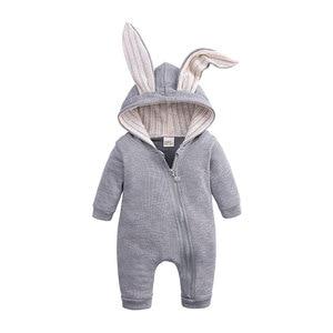 Детский наряд с капюшоном и рисунком кролика; Комбинезоны из хлопка на молнии; Детские комбинезоны; Сезон весна-осень; Цельный костюм для новорожденных от 3 до 24 месяцев