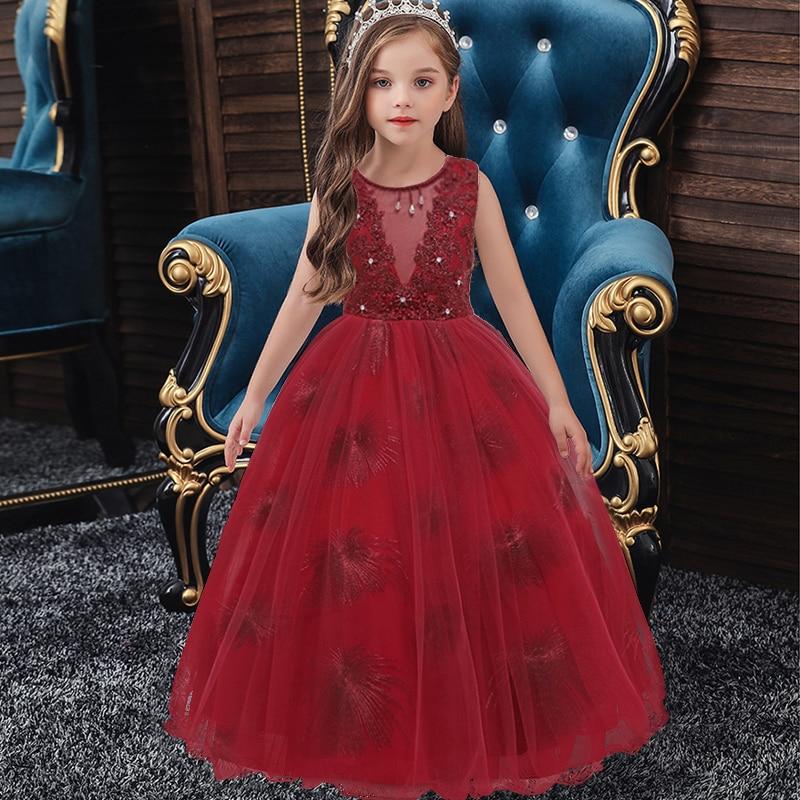 Маленькие платья для девочек, держащих букет невесты на свадьбе; платье для торжеств; платье для девочек, расшитое бисером, на день рождения; платье для первого причастия; бальное платье с длинными рукавами и лепестками - Цвет: wine red