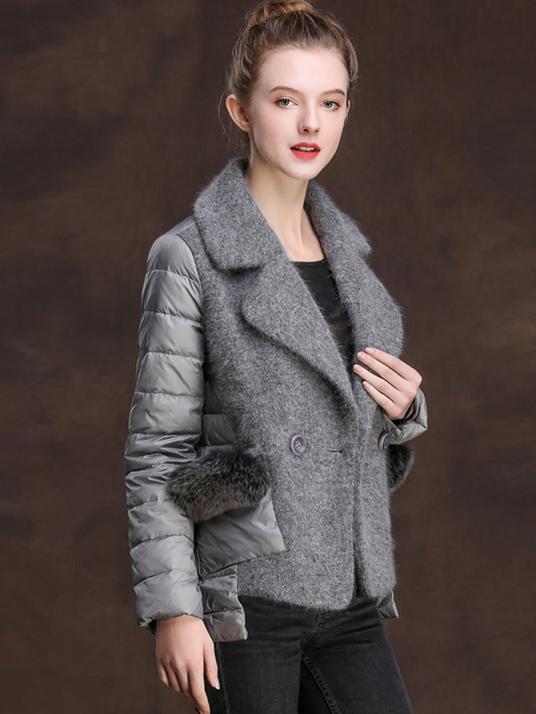 Jacket Down Women's Winter Jacket Women Knitting Stitching Down Coat Female Fox Fur Korean Jackets Chaqueta Mujer MY3858 S