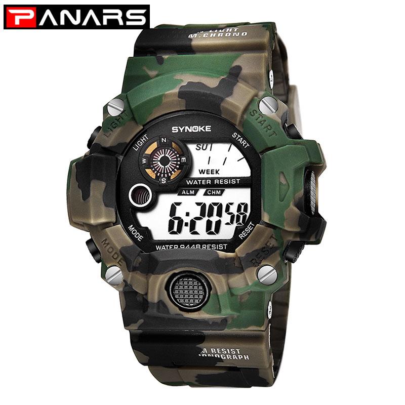 Camouflage Watch Back-Light Shock G-Style Digital PANARS Military Army Deportivo Reloj