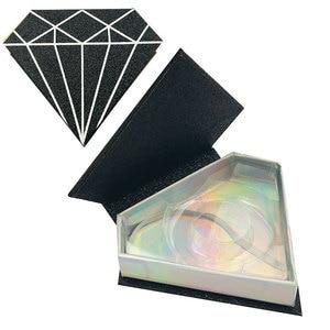 Image 4 - 10pcs Visone ciglia finte scatola di imballaggio Commercio Allingrosso logo personalizzato falso 3d ciglia di visone casi Rosso Rosa striscia di diamante magnetico scatole