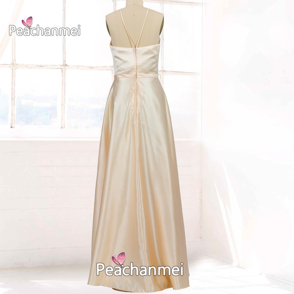 Real Photos A Line Formal Evening Dress Long Robe De Soiree Prom Dress 2020  Elegant Sexy Ball Gowns Satin Party Dress