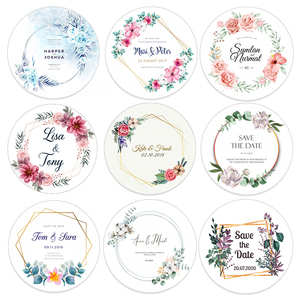 96pcs 4.5cm Customized Add Your Names and Date Wedding Stickers Invitations Seals Candy Favors Gift Boxes Paper Labels Adhesive(China)