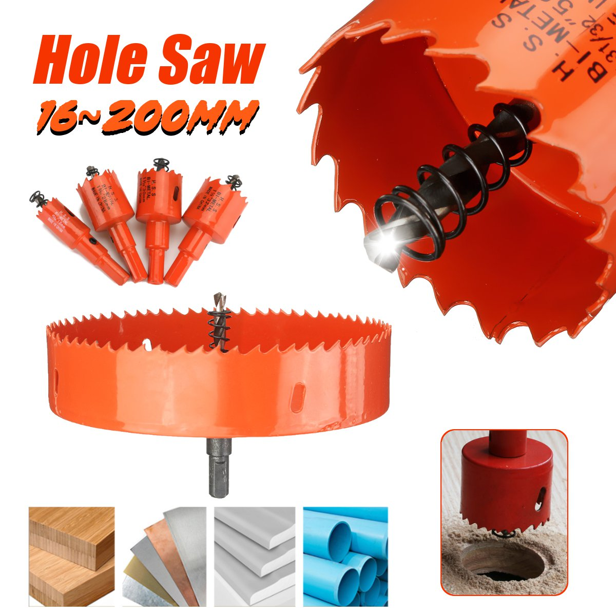 Red 16-200mm HSS Bi-Metal Wood Hole Saw Cutter Tooth Cutter Drill Bit For Woodworking DIY Wood Cutter Drill Bit Set PVC Plastic