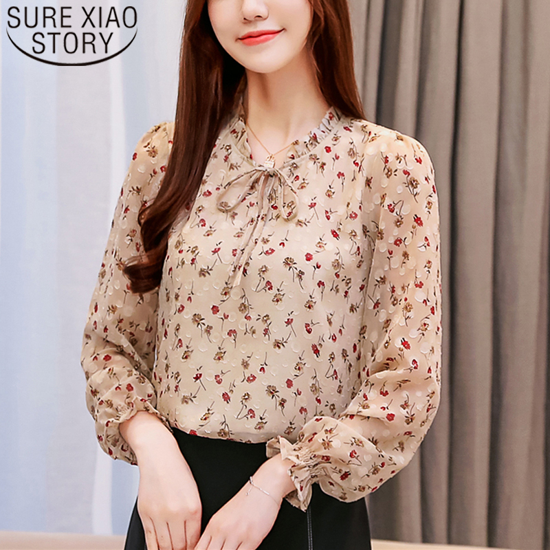 2020 Spring New Arrival Women Tops And Blouses Elegant Chiffon Blouse Floral Bow Collar Long Sleeve Tops Chemisier Femme 8224 50