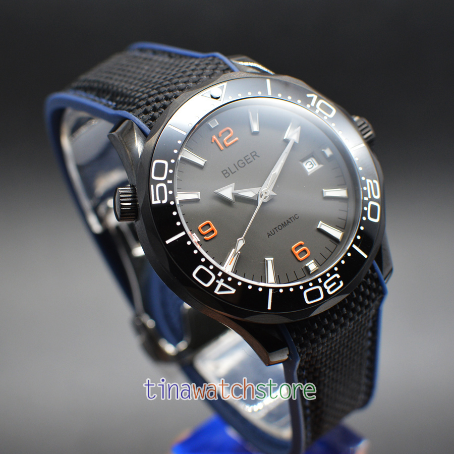 Bliger 41mm Automatic Mechanical Men Watch Grey Dial Orange Scale Sapphire Crystal Ceramic Bezel Watch Rubber Strap