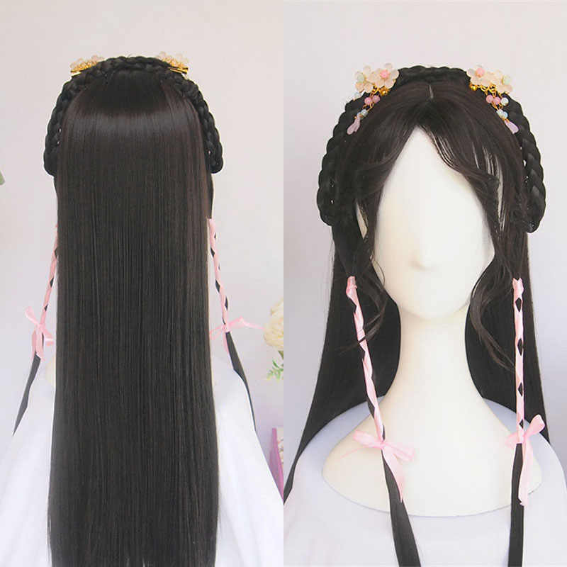 WEILAI wigs for women Vintage wig Ancient Chinese Wig ponytail Long straight black hair Air bangs Modelling wig Custom product