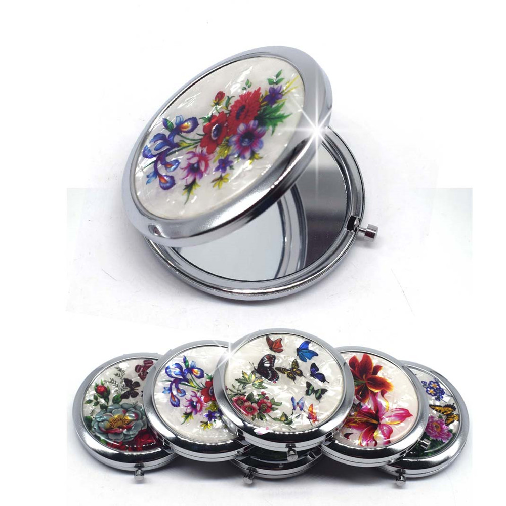 Mini Makeup Compact Pocket Mirror Flower Butterfly Bamboo Metal Portable Two-side Folding Makeup Mirror Vintage Cosmetic Mirrors