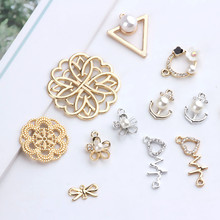 10Pcs Hot sale jewellery alloy geometric pearl Earring For Women flower pendant dream catcher statement earrings diy accessories(China)